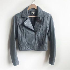 Frenchi Gray Leather Biker Jacket